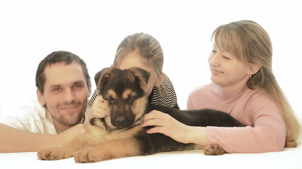 Cheerful family and dog
