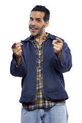 casual dressed man pointing with white background