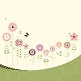 Retro Flowers Card