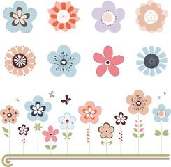 Vector Retro Flowers