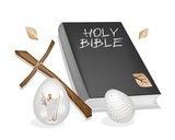 Holy Bible with Wooden Cross and Easter Eggs