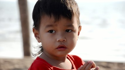 beautiful thai child portrait, slow motion