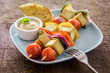 Barbecued halloumi and vegetable kebabs