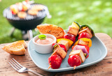 Healthy summer meal of halloumi kebabs