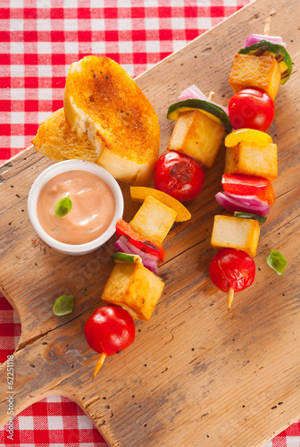 Wholesome country halloumi and vegetable kebabs