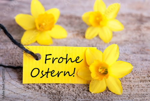 canvas print picture Label with Frohe Ostern