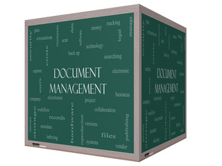 Document Management Word Cloud Concept on a 3D Blackboard