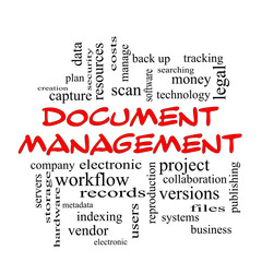 Document Management Word Cloud Concept in red caps