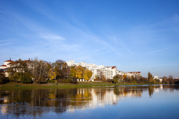 Lake in the Skaryszewski Park in Warsaw