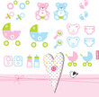 Baby girl or boy design elements for invitations, scrapbook ...