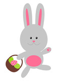 Easter rabbit with color eggs