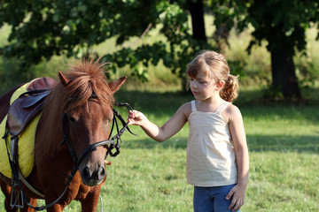 beautiful little girl and pony horse pet on field