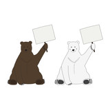 Polar and brown bear hold an empty table