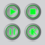 Green color media player button