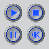 Blue color media player button