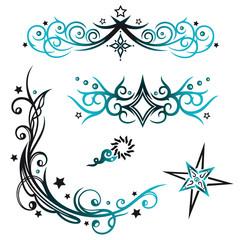Tribal und Tattoo Vektor Set, Sterne