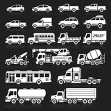 Cars icons white color set.