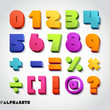 3D alphabet number colorful.