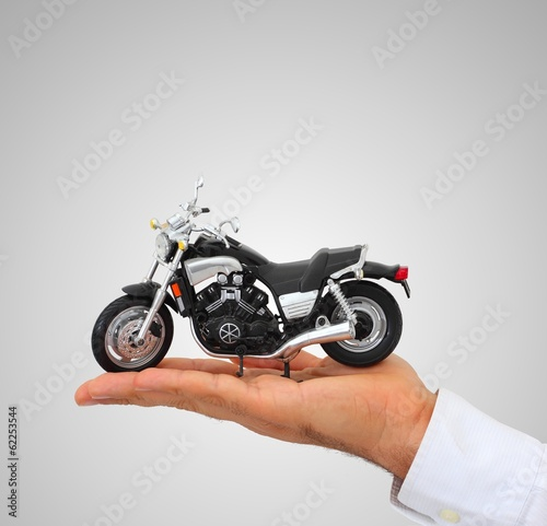 Motorcycle on the hand