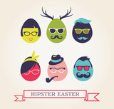 Happy Hipster Easter - set of stylish eggs icons
