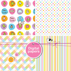 Easter cute seamless patterns