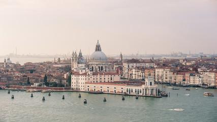 The Basilica Santa Maria della Salute, aerial view. Grand canal.