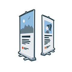 Rollup banner stand icon in cartoon style