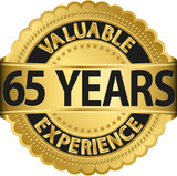 Valuable 65 years of experience golden label with ribbon, vector