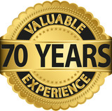 Valuable 70 years of experience golden label with ribbon, vector