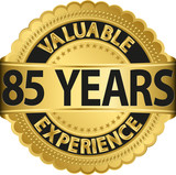 Valuable 85 years of experience golden label with ribbon, vector