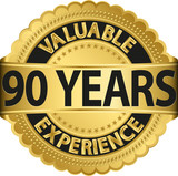 Valuable 90 years of experience golden label with ribbon, vector