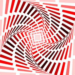 Design red twirl movement illusion background. Abstract strip to