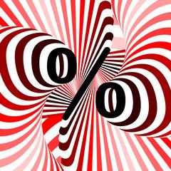 Design percent icon. Strip waving line textured symbol