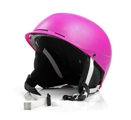 pink helmet isolated on white