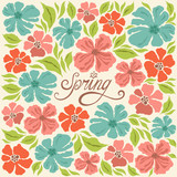 Floral background, spring lettering, greeting card