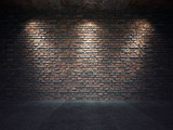 Old brick wall illuminated by spotlights