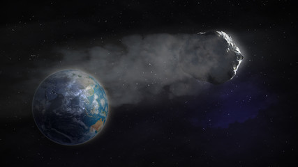 Comet flying by Earth