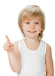 little boy shows sign and symbol on white background