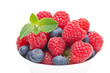close-up of fresh berries (raspberry, blueberry, strawberry)