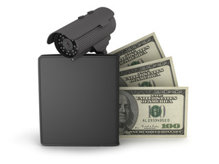 Video surveillance camera, dollars and leather wallet on white b