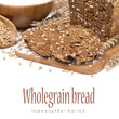 sliced ​​wholegrain bread on a wooden board, isolated