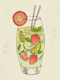 Hand drawn illustration of mojito with strawberry.