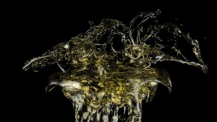 yellow soda splash in extreme slow motion (FULL HD)