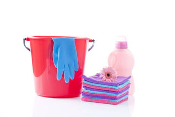 hand wash concept with towels and detergents isolated on white