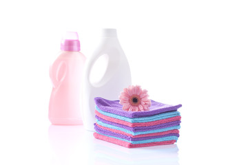 clean cotton towels and washing detergents for doft laundry