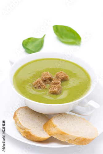 Traditional spinach soup with croutons, isolated