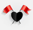 Protective Heart Shield with Red Flags Vector Illustration