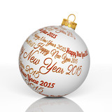 Happy new year 2015 written on Christmas ball