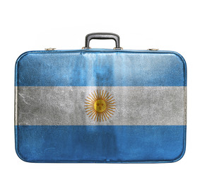 Vintage travel bag with flag of Argentina