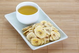 Crunchy banana chips eat with hot tea